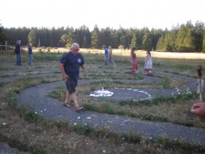 There are many opportunities and ways to experience a labyrinth.  A special guest from california leads a group of visitors on a facilitated labyrinth walk.